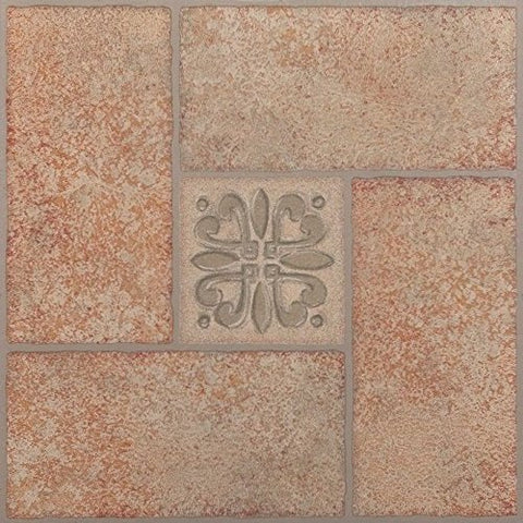 Park Avenue Collection NEXUS Beige Terracotta Motif Center 12 Inch x 12 Inch Self Adhesive Vinyl Floor Tile #421 - 20 Tiles