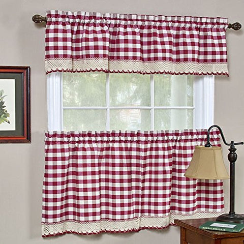 Park Avenue Collection Buffalo Check Tier Pair - 58x24 - Burgundy