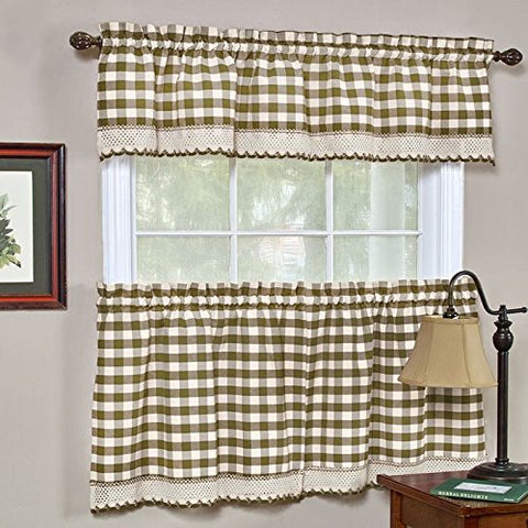Park Avenue Collection Buffalo Check Tier Pair - 58x24 - Taupe