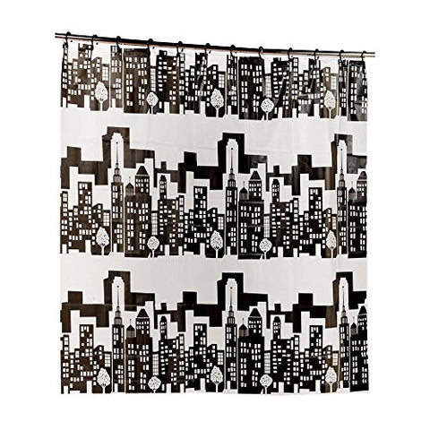 Park Avenue Deluxe Collection Park Avenue Deluxe Collection  inch Cityscape inch  PEVA Shower Curtain with Built-in Hooks
