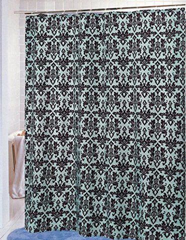 BenandJonah Collection Fabric Shower Curtain 70 x 72 inch  Damask Chocolate/Blue