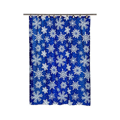 Park Avenue Deluxe Collection  inch Snow Flakes inch  Fabric Shower Curtain