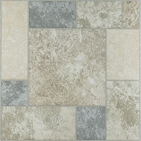 Park Avenue Collection NEXUS Marble Blocks 12 Inch x 12 Inch Self Adhesive Vinyl Floor Tile #327 - 20 Tiles