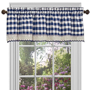 Park Avenue Collection Buffalo Check Valance - 58x14 - Navy
