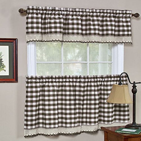 Park Avenue Collection Buffalo Check Tier Pair - 58x24 - Chocolate