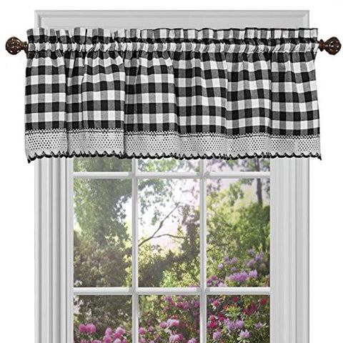 Park Avenue Collection Buffalo Check Valance - 58x14 - Black