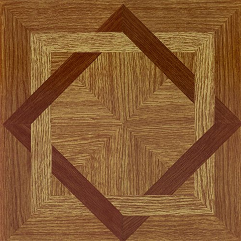 Ben&Jonah Collection Tivoli Wood Diamond 12x12 Self Adhesive Vinyl Floor Tile - 45 Tiles/45 sq Ft.