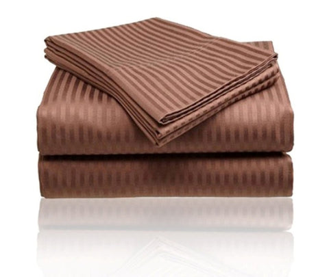 Cozy Home 1800 Series Embossed Striped 4-Piece Sheet Set King - Chocolate