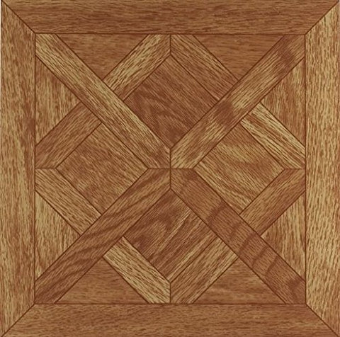 Park Avenue Collection Tivoli Classic Parquet Oak 12 Inch x 12 Inch Self Adhesive Vinyl Floor Tile #201 - 45 Tiles