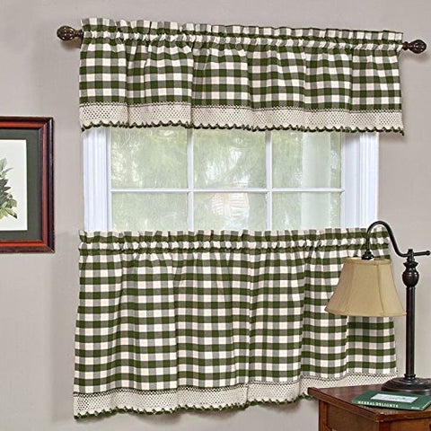 Park Avenue Collection Buffalo Check Tier Pair - 58x24 - Sage