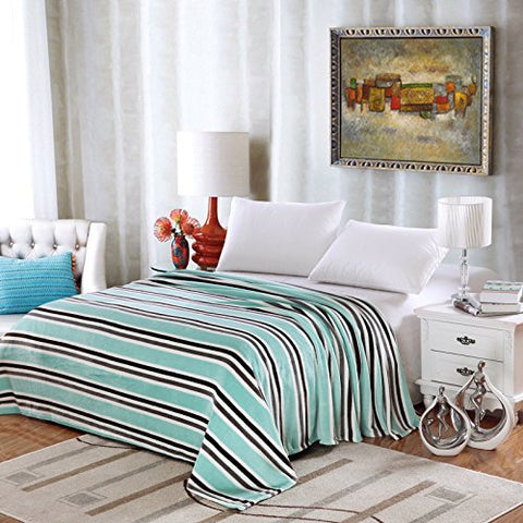 Ben&Jonah Designer Plush King Lauren Micro Fleece Jacquard Blanket -Aqua Stripe