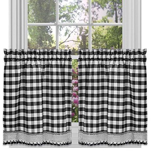 Park Avenue Collection Buffalo Check Tier Pair - 58x24 - Black
