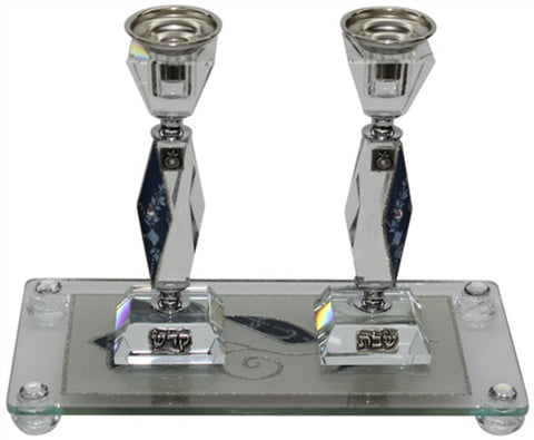 "Ben and Jonah Sabbath/Shabbos Crystal Candlesticks with Tray - Blue Tulip Applique -Tray 10 "" W X 5 "" L -  Candlesticks  - 7 "" H"