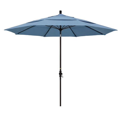 Eclipse Collection 11' Fiberglass Market Umbrella Collar Tilt DV Bronze/Sunbrella/Air Blue