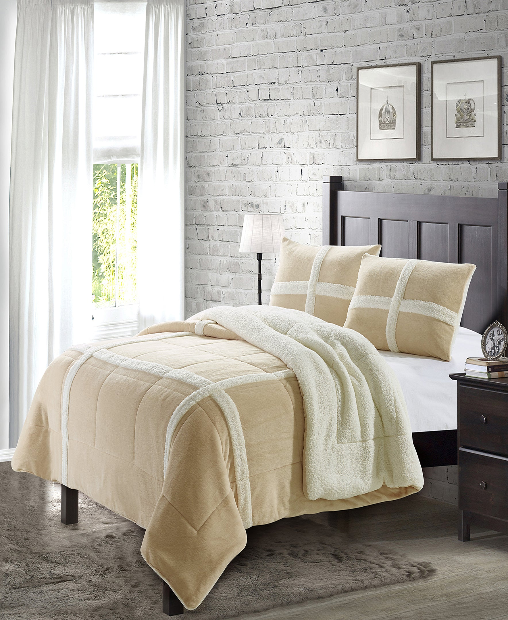"""Simple Elegance by Ben&Jonah 3 Piece Queen Size Flannel Blanket Set with Sherpa Backing (90"""" x 90"""") - Tan"""