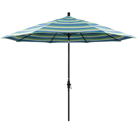 Eclipse Collection 11' Fiberglass Market Umbrella Collar Tilt DV Matt Black/Sunbrella/Seville Seaside