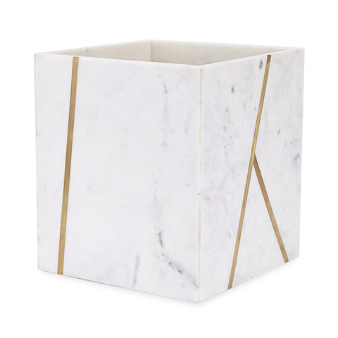 "Royal Bath Roman Palace Collection Marble Wastebasket with Brass Inlay 7.5""L x 7.5""W x 8.5""H"