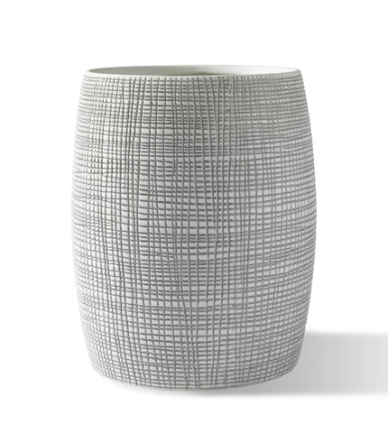 "Royal Bath Raffia Embossed Porcelain Wastebasket 7.09""D x 9.45""H"