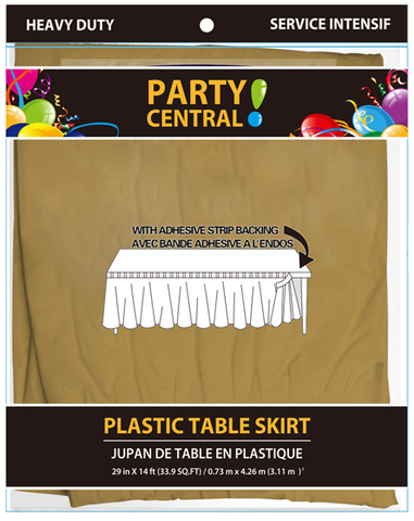 "Party Central Heavy Duty Plastic Table Skirt with Adhesive Backing (14'L x 29"" Drop) - Gold"