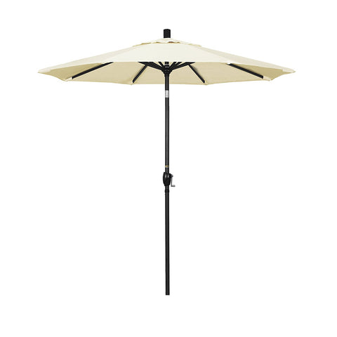 Eclipse Collection 7.5' Aluminum Market Umbrella Push Tilt M Black/Sunbrella/Canvas Vellum