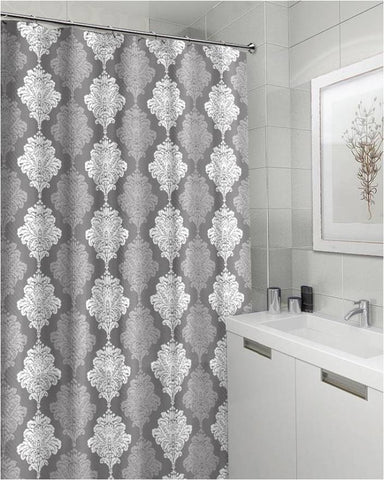 "Royal Bath Shades of Grey Damask Canvas Fabric Shower Curtain (70"" x 72"")"