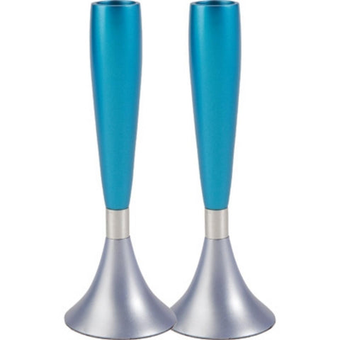 "Ben and Jonah Sabbath/Shabbos Metal Candlesticks -Anodized Aluminum - Turquoise/Silver- 6.5"" x 2.3"""