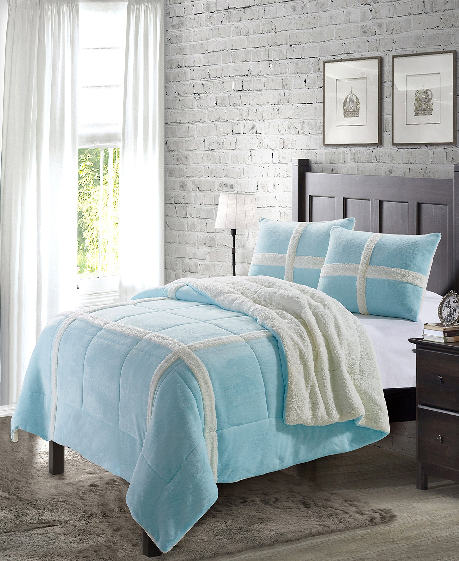 """Simple Elegance by Ben&Jonah 3 Piece Queen Size Flannel Blanket Set with Sherpa Backing (90"""" x 90"""") - Light Blue"""
