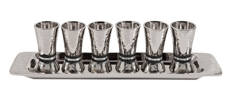 Ben and Jonah Liquor Shot Cups Set-6 with Tray-Highly Polished Hammered Nickel-Black Rings