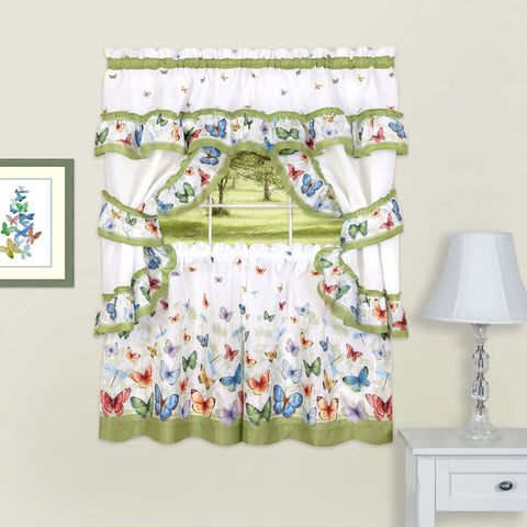 Traditional Elegance Butterflies Printed Cottage Window Curtain Set - 57x24 - Green