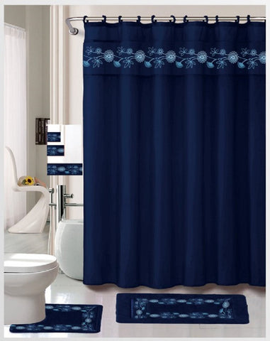 Royal Bath Hierba Luisa 18 Piece Embroidered Bath Rug Set - Navy