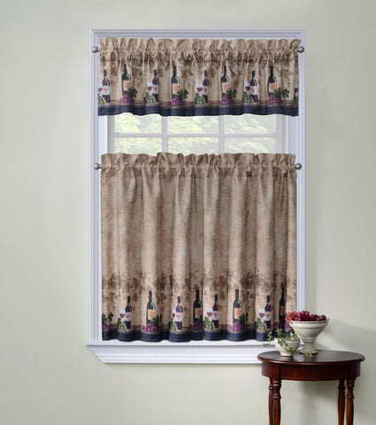 Cabernet 3 Piece Kitchen Curtain Window Set