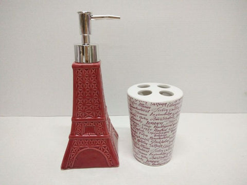 Royal Bath Novelty Paris Glamour Eiffel Tower 2 Piece Ceramic Bath Set: 1 Lotion Pump and 1 Toothbrush Holder - Red/Pink