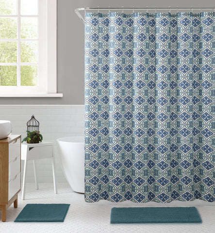 "Royal Bath La Floreada Embossed Microfiber Fabric Shower Curtain - 72"" x 72"""