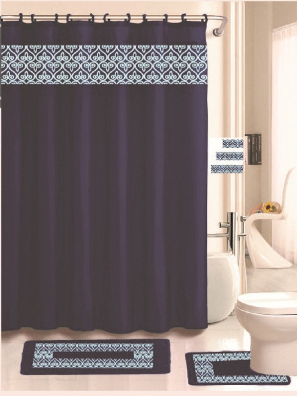 Royal Bath Heart Space 18 Piece Embroidered Bath Rug Set - Navy