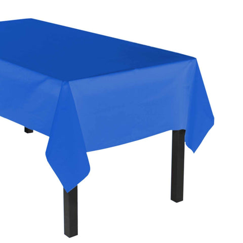 "Party Central Reusable Waterproof Plastic Rectangular Tablecover (54"" x 108"") - Royal Blue"