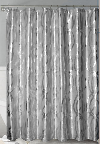 Grey/Silver Metallic Sparks Faux Silk Fabric Shower Curtain with Roller Hooks