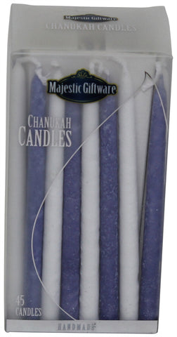 Ben&Jonah Chanukah Candles - Premium Collection - 45 Pack - Blue/White - 5""