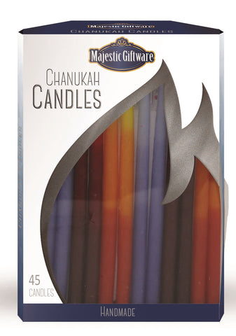 Ben&Jonah Chanukah Candles - Executive Collection - 45 Pack - Blue/Red/Orange - 6""