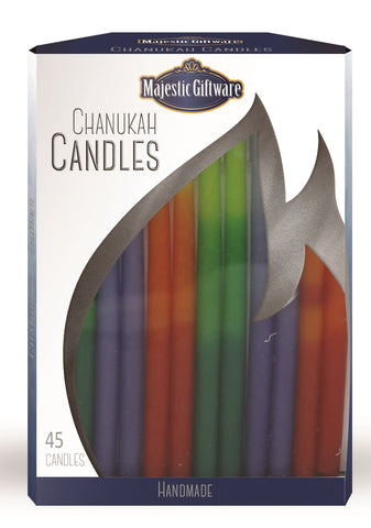 Ben&Jonah Chanukah Candles - Executive Collection - 45 Pack - Blue/Orange/Green - 6""