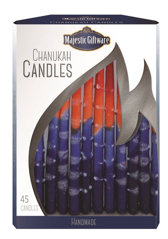 Ben&Jonah Chanukah Candles - Executive Collection - 45 Pack - Blue/Orange/Red  - 6""