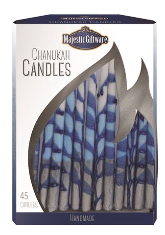 Ben&Jonah Chanukah Candles - Executive Collection - 45 Pack - Blue/White/Silver  - 6""