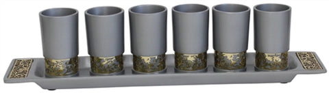 Ben and Jonah Liquor Shot Cups Set- 6 Cups with Tray- Silver with Gold Metal Decorative Cutouts