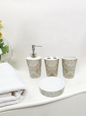 Royal Bath Coral Life 4 Piece Taupe Ceramic Bath Set: 1 Lotion Pump, 1 Toothbrush Holder, 1 Tumbler and 1 Soap Dish - Sand