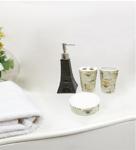 Royal Bath Novelty Paris Glamour Eiffel Tower 4 Piece Waverly Ceramic Bath Set: 1 Lotion Pump, 1 Toothbrush Holder, 1 Tumbler and 1 Soap Dish - Grey