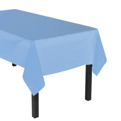 "Party Central Reusable Waterproof Plastic Rectangular Tablecover (54"" x 108"") - Sky Blue"