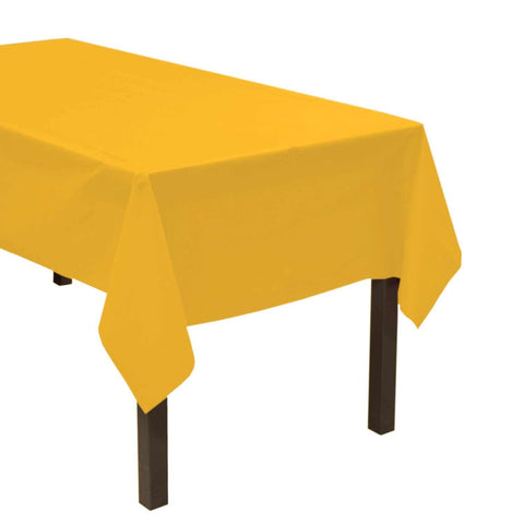 "Party Central Reusable Waterproof Plastic Rectangular Tablecover (54"" x 108"") - Yellow"