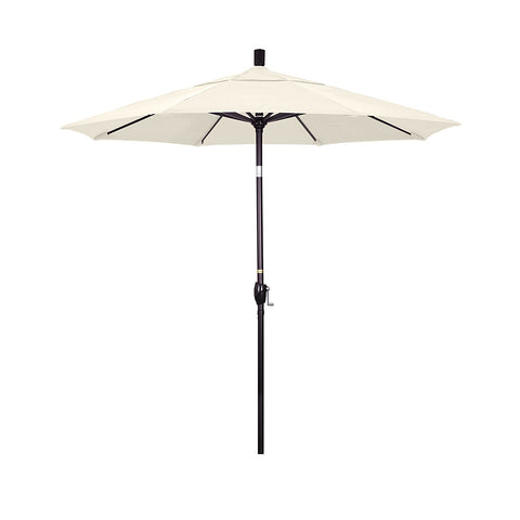 Eclipse Collection 7.5' Aluminum Market Umbrella Push Tilt - Bronze/Sunbrella/Canvas Vellum
