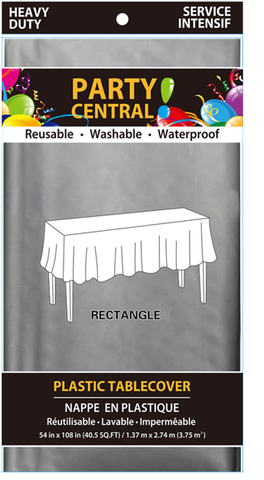 "Party Central Reusable Waterproof Plastic Rectangular Tablecover (54"" x 108"") - Silver"