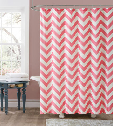 "Royal Bath Pink Chevron Embossed Microfiber Fabric Shower Curtain - 72"" x 72"""
