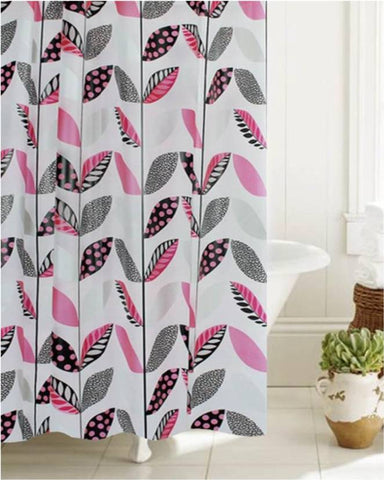 "Royal Bath Stripe-a-Dot Floral Glam PEVA Non-Toxic Shower Curtain (70"" x 72"") with 12 Roller Hooks"
